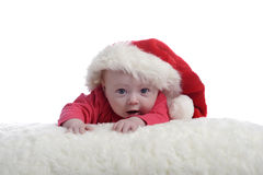 4 months old baby with christmas hat Royalty Free Stock Photo