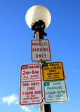 4 muestras que estacionan para una ranura Fotografía de archivo