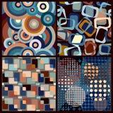 4 naadloze geometrische retro patronen Stock Afbeelding