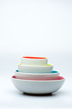 4 nested white bowls on white background Royalty Free Stock Image