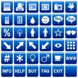 4 niebieskie guziki kwadratowa sieci Zdjęcia Royalty Free