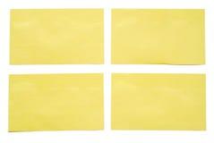 4 notas amarelas. Fotografia de Stock