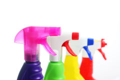 4 nozzles of detergents Stock Photo