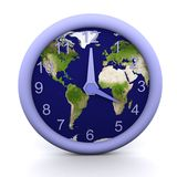 4 oclock. 3d rendered clock showing the time with earth background Royalty Free Stock Image
