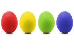 4 oeufs de pâques colorés image stock
