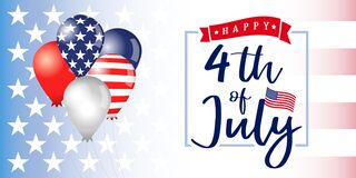Free 4 Of July Independence Day USA Banner With Balloons Royalty Free Stock Photos - 182823838