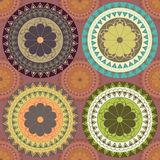 4 ornaments in various colors. Oriental circle in various colors stock illustration