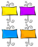 4 Ornate Easels. Illustration of four blank easels for your own message Stock Photo