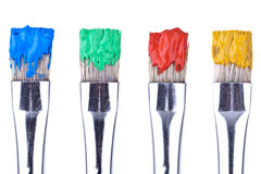 4 Paint Brushes. Completey isolated on white background Royalty Free Stock Photography