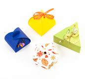 4 paper box with gift. Paper box with gift - Isolated on white background Royalty Free Stock Images