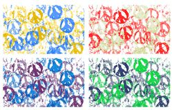 4 Peace. An illustration of peace symbol in four different colors Royalty Free Stock Photography