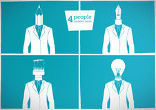 4 people. Creative head. 4 man have the tools-head Stock Images