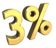 4 per cento in oro (3D) Immagini Stock
