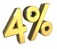 4 percenten in (3D) goud Stock Afbeelding