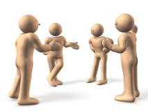 4 personas son impacientes discutir. Fotografía de archivo libre de regalías