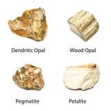 4 pierres de minerais Images libres de droits