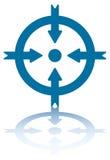 4 pijlen in een Cirkel (binnen) Stock Fotografie