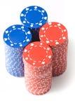 4 pilas de virutas de póker Imágenes de archivo libres de regalías