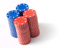 4 pilhas de microplaquetas de póquer Fotografia de Stock