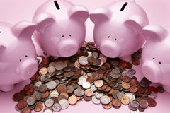 4 Pink piggy banks Royalty Free Stock Photography