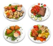 4 platos de alimento. aislado encendido Imagen de archivo
