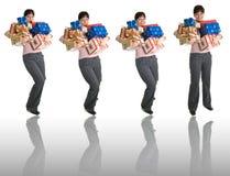 4 poses de uma menina com mãos cheias dos presentes Fotos de Stock Royalty Free