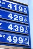 $4 precios de la gasolina Fotografía de archivo