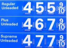 $4 precios de la gasolina Imagenes de archivo