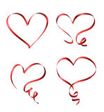 4 red ribbons Royalty Free Stock Photo