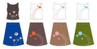 4 retro design tops and skirts Royalty Free Stock Photos
