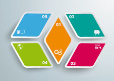 4 Rhombus Pieces 5 Options PiAd. Colored rhombus pieces on the grey background. Eps 10  file Royalty Free Stock Photography