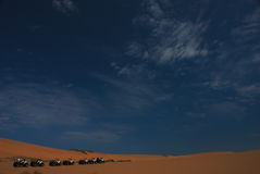 4 rouleurs dans le désert   Image stock