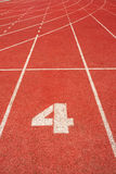 4 on a running track  line Stock Photography