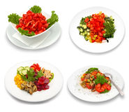 4 salad dishes. Isolated on white. This image was composed using four different shots Royalty Free Stock Photos