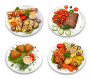 4 schotels van voedsel. geïsoleerde Stock Afbeelding