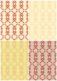 4 seamless backgrounds. 4 victorian seamless backgrounds. Gold and red Stock Images