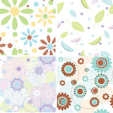 4 seamless floral patterns Royalty Free Stock Photo