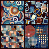 4 seamless geometric retro patterns Stock Image