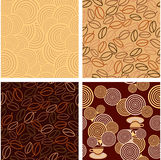 4 seamless pattern in Coffee style Stock Photography