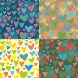 4 Seamless vector texture. with hearts Royalty Free Stock Photography