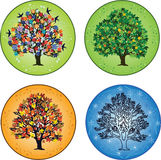4 seasons. Four seasons: trees in spring, summer, autumn and winter Stock Photo