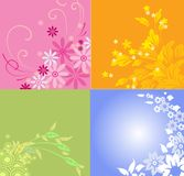 4 seasons. Background with spring, summer, autumn, and winter designs Royalty Free Stock Images
