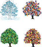 4 seasons. Four seasons: trees in spring, summer, autumn, winter Royalty Free Stock Image
