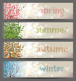 4 seasons. Horizontal banners with binders Stock Images