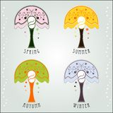 4 seasons Art Nouveau Royalty Free Stock Photos