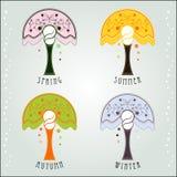 4 seasons Art Nouveau Royalty Free Stock Photos