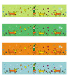 4 seasons dogs illustrations. Set of seasons banners, or illustrations Stock Photo