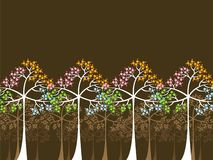4 seasons trees on brown. Background illustration Royalty Free Stock Photo