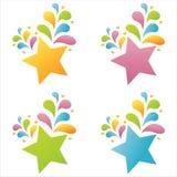 4 set stjärnor vektor illustrationer
