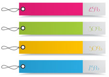 4 shopping discount tags. Set of 4 shopping price tags with tie strings Royalty Free Stock Image